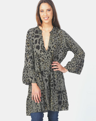 Queenspark Private Label Woven Tunic Khaki Animal Print