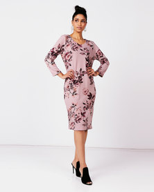 Queenspark Private Label Floral Printed 3/4 Sleeve Knit Dress Pink