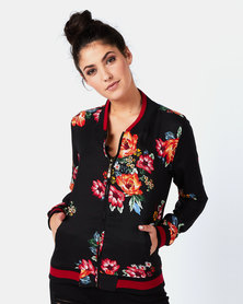 cath.nic By Queenspark Botanical Zip Woven Jacket Black