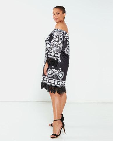 Queenspark Plus Collection Placement Print Knit Tunic Black/White