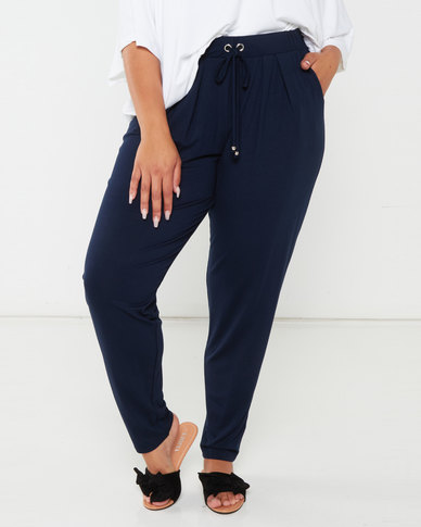 Queenspark Plus Collection Soft Knit Pants With Toggles Navy