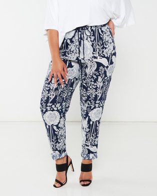 Queenspark Plus Collection Printed Woven Pants Navy