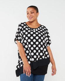 Queenspark Plus Collection Layered Woven Blouse Black/White