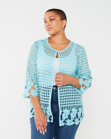 Queenspark Plus Collection Glamour Lace Knit Jacket Aqua