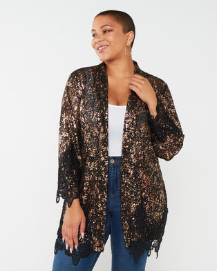 Queenspark Plus Collection New Glamour Knit Jacket Black