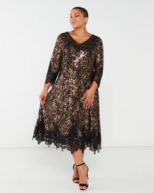 Queenspark Plus Collection Fancy Glamour Fit And Flair Knit Dress Black