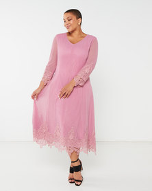 Queenspark Plus Collection Beaded Mesh & Iron On Motif Mesh Knit Dress Pink