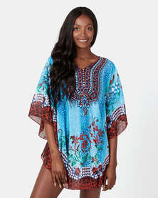 Queenspark Paisley Border Kaftan Blue