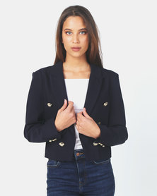 Miss Cassidy By Queenspark Smart Woven Jacket Navy