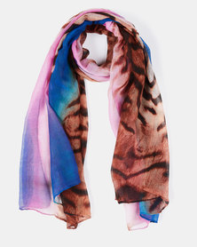 Queenspark Animal Print Poly Scarf Multi