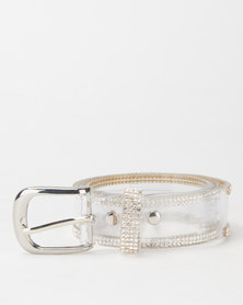 Queenspark Repeat Jelly Belt With Fine Outer Diamante Trim Clear