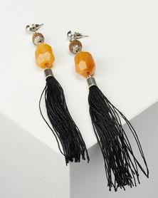 Jewels and Lace Multi Bead Tassel Earrings Multi