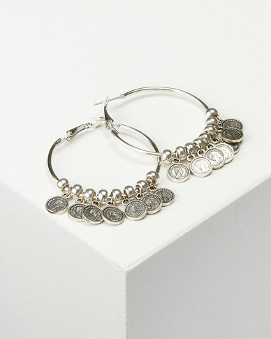 Jewels and Lace Coin Charm Earrings Silver-tone
