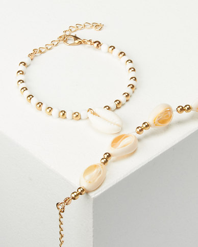 Jewels and Lace 2 Pack Cowrie Shell Bracelet Gold