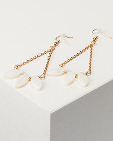 Jewels and Lace Shell Bead Earrings Gold-tone