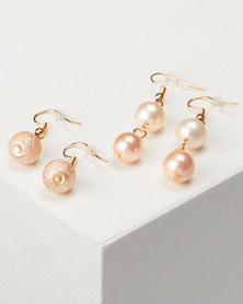 Jewels and Lace 2 Pack Blush Pearl Earrings Gold-tone