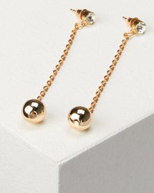 Jewels and Lace Bead Drop Earrings Gold-tone