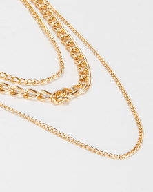 Jewels and Lace Chain Layer Necklace Gold-tone