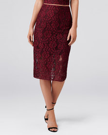 Forever New BILLIE LACE CO-ORD PENCIL SKIRT WINE