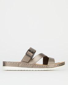 Bata Comfit Slip Sandals Pewter