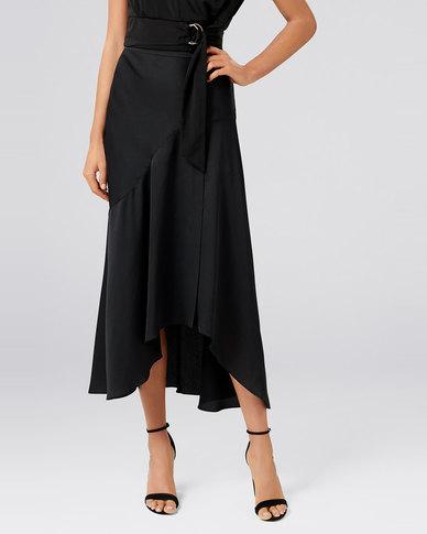 Forever New Andrea Asym Split Skirt Black