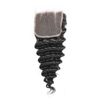 Blkt 8 inches 12A Brazilian Deep Curl 4X4 Three Parts Closure