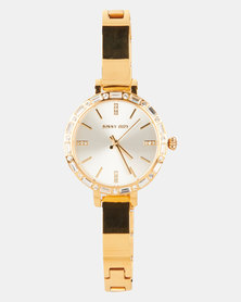 Sissy Boy White Dial Strap Watch Gold