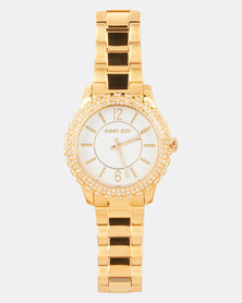 Sissy Boy White Dial Link Strap Watch Gold