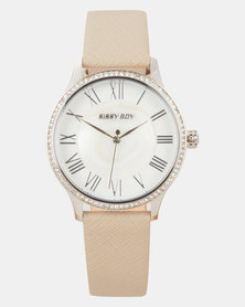 Sissy Boy Mother of Pearl Dial Leather Strap Watch Grey