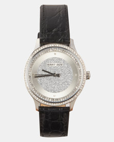 Sissy Boy Silver Dial Leather Strap Watch Black