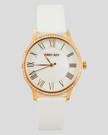 Sissy Boy Mother of Pearl Dial Leather Strap Watch White