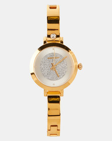 Sissy Boy White Dial Stone Strap Watch Gold