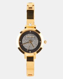 Sissy Boy Dial Stone Strap Watch Black/Gold