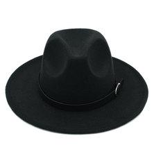 Big Brothers and Sisters Wholesalers Wide Brim Fedora Panama Wool Hat- 57cm Black with belt buckle