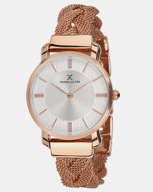 Daniel Klein Mesh Strap Watch Rose Gold