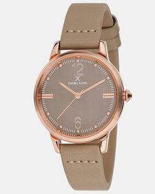 Daniel Klein Leather Strap Watch Beige