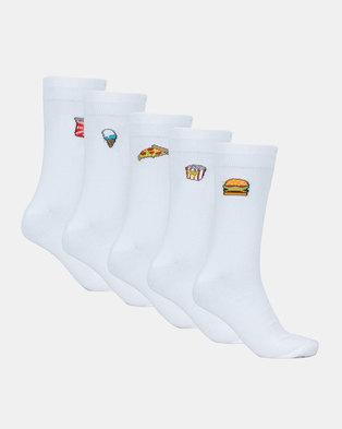 Brave Soul 5PK Embroidery Detail Socks White