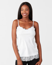 UB Creative Satin Cami with Lace Trim White