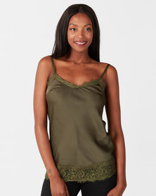 UB Creative Satin Cami with Lace Trim Green