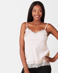 UB Creative Satin Cami with Lace Trim Stone