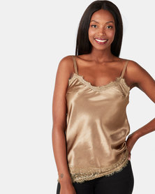 UB Creative Satin Cami with Lace Trim Gold