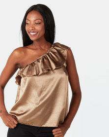 UB Creative Asymmetric Satin Off-shoulder Frill Top Gold