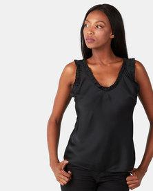 UB Creative Satin V-neck Vest Black