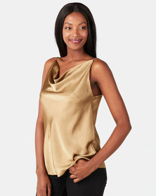 UB Creative Cowl Neck Cami Gold