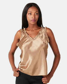 UB Creative Satin V-neck Vest Gold