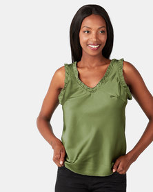UB Creative Satin V-neck Vest Green