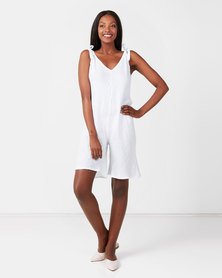 UB Creative Linen Shoulder Tie Romper White