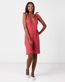 UB Creative Linen Shoulder Tie Romper Red