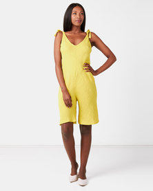 UB Creative Linen Shoulder Tie Romper Yellow