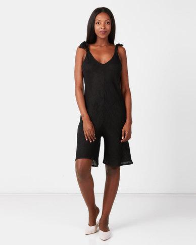 UB Creative Linen Shoulder Tie Romper Black